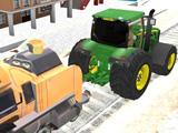 Трактор Буксирует Поезд