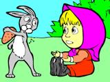 Маша и Зайчишка – Раскраска